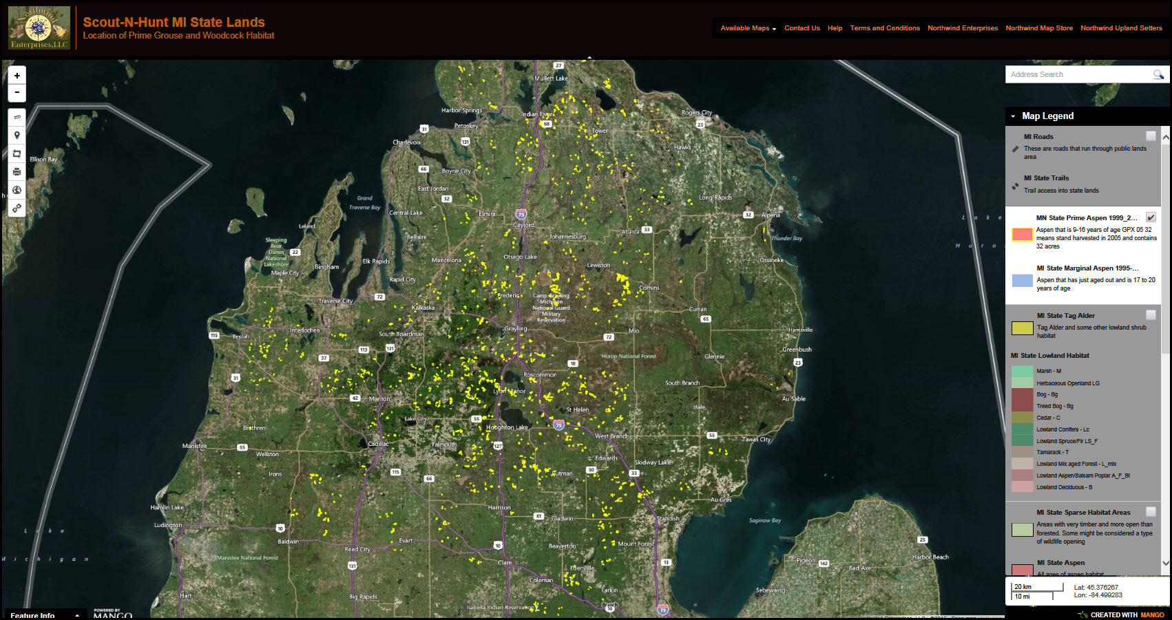 ScoutNHunt Demo Map Interactive Web Map - Us counties map highlight demo