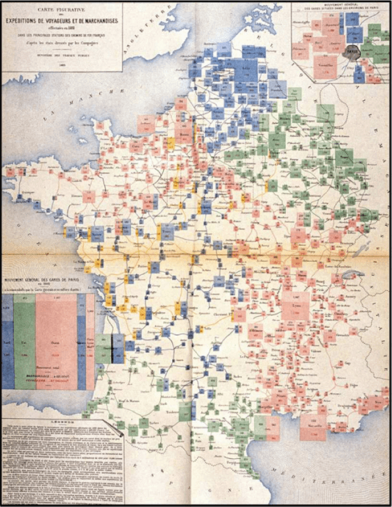 Complex map visualizations aren't new as demonstrated by this rail freight map from 1882