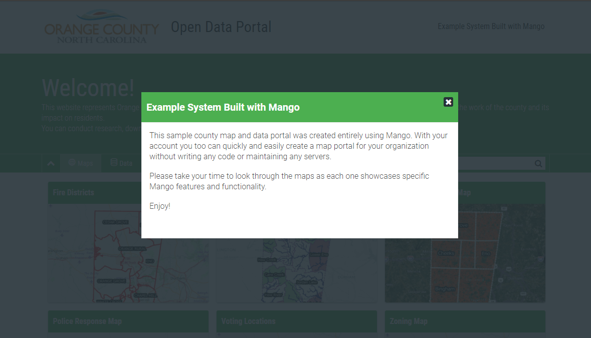 A welcome message on a map and data portal made with Mango