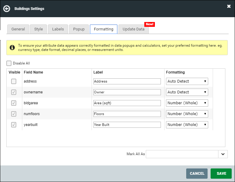 The layers panel where you can set an alias for confusing field names
