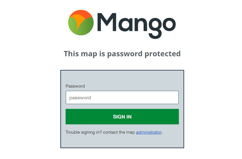 A password protected web map requires the map's unique password to view.