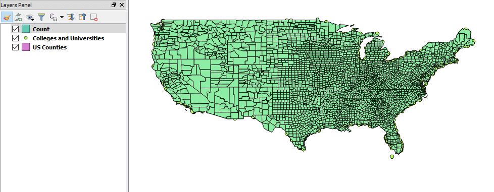 The output layer created by counting points in polygons in QGIS