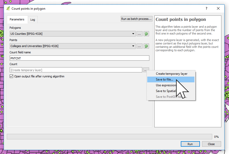 Specify an output file location and name for counting points in polygons in QGIS