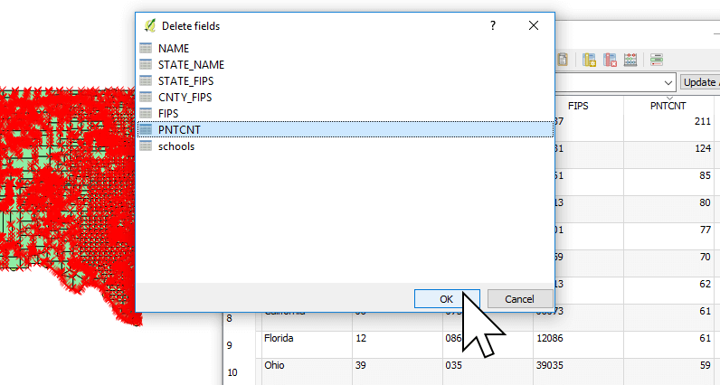 Selecting a column to delete in QGIS