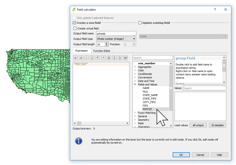 Changing the field type by creating a new field using the Field Calculator in QGIS