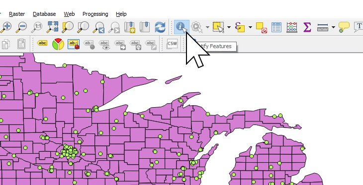 Activating the Identity features tool in QGIS
