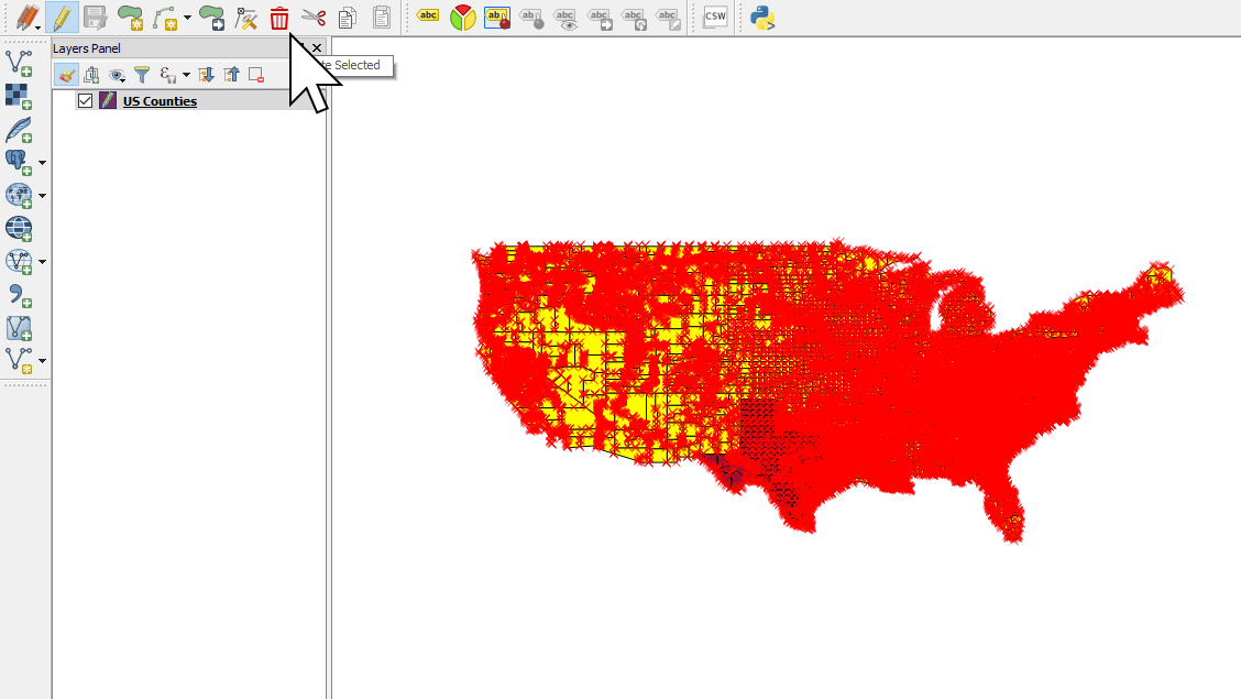 Deleting unwanted features in a shapefile using QGIS