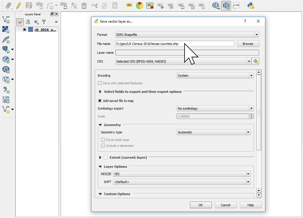 Saving a shapefile in QGIS