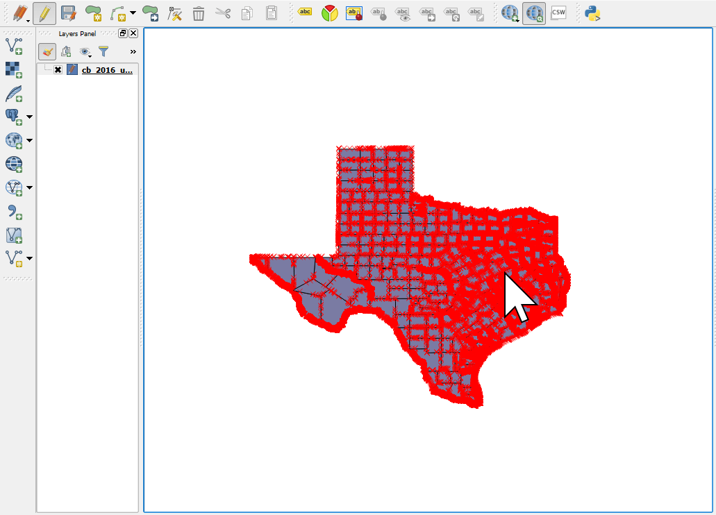 Our area of interest after removing unwanted features in a shapefile using QGIS