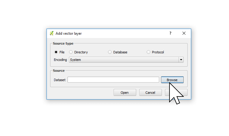 Adding a shapefile to QGIS