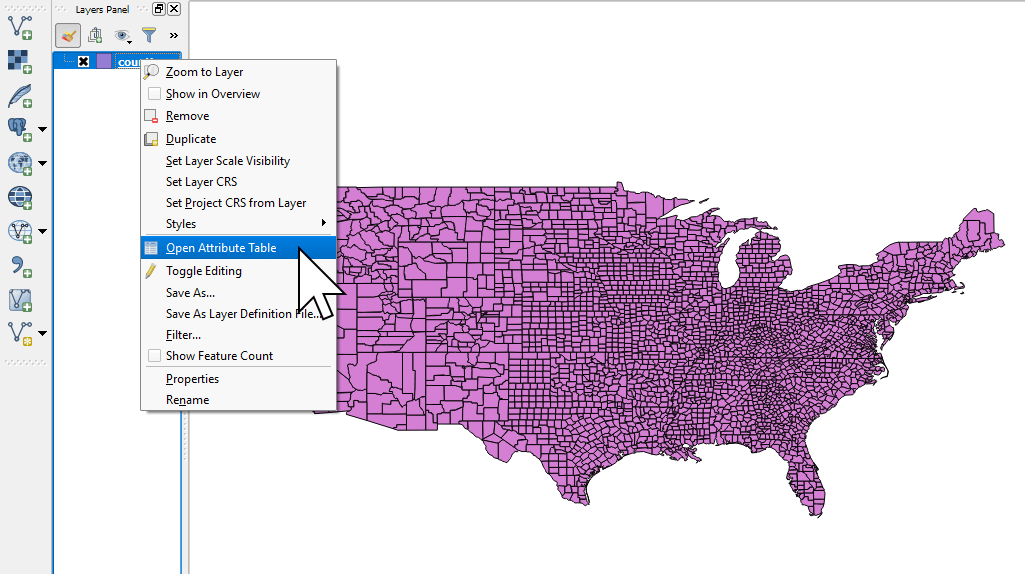 Opening the Attribute Table of a shapefile in QGIS