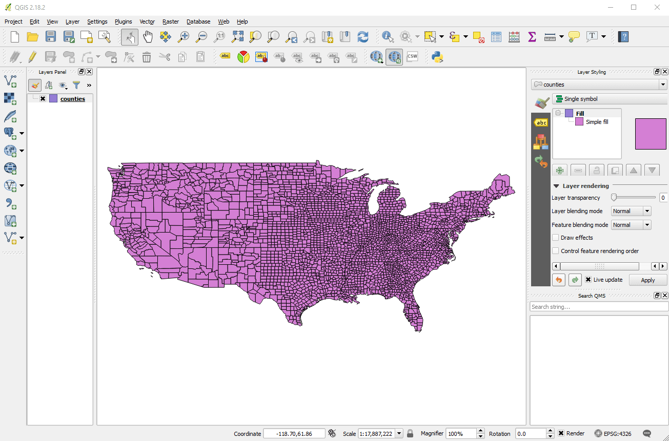 A shapefile of US counties in QGIS