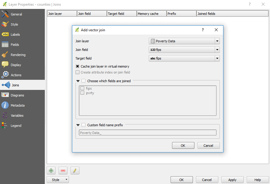 Creating a table join in QGIS