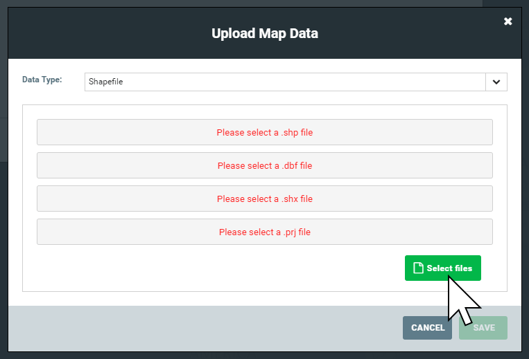 Selecting a shapefile to upload as a web map layer in Mango